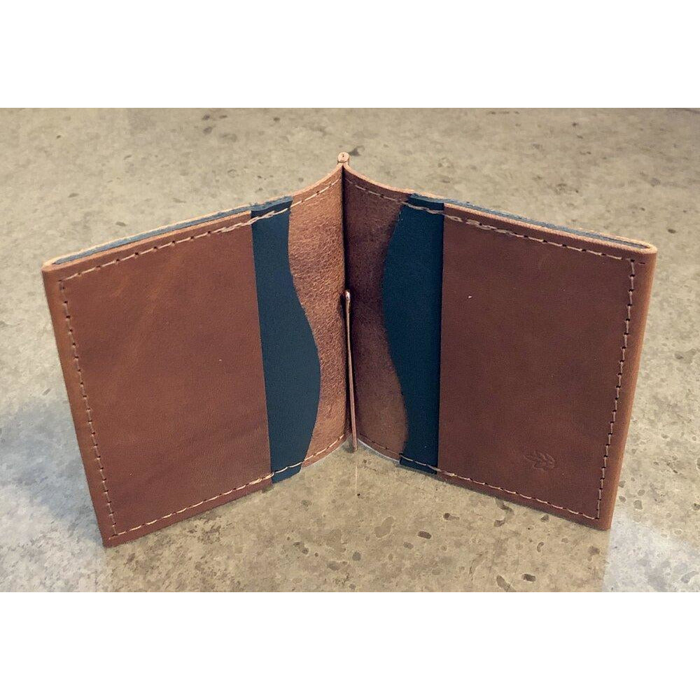 Leather Money Clip Wallet, Brown with Teal Pockets