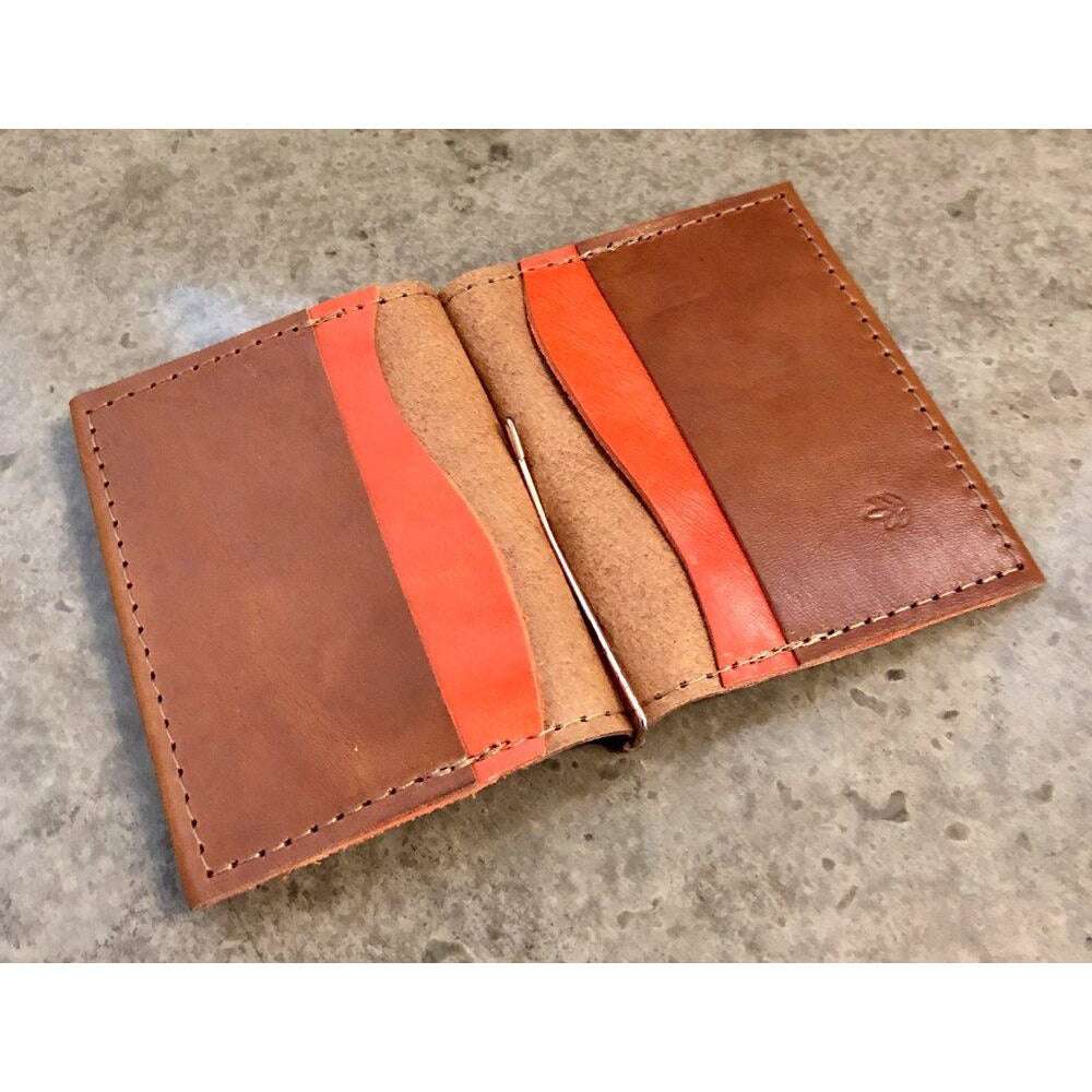 Leather Money Clip Wallet, Brown with Bright Orange Pockets
