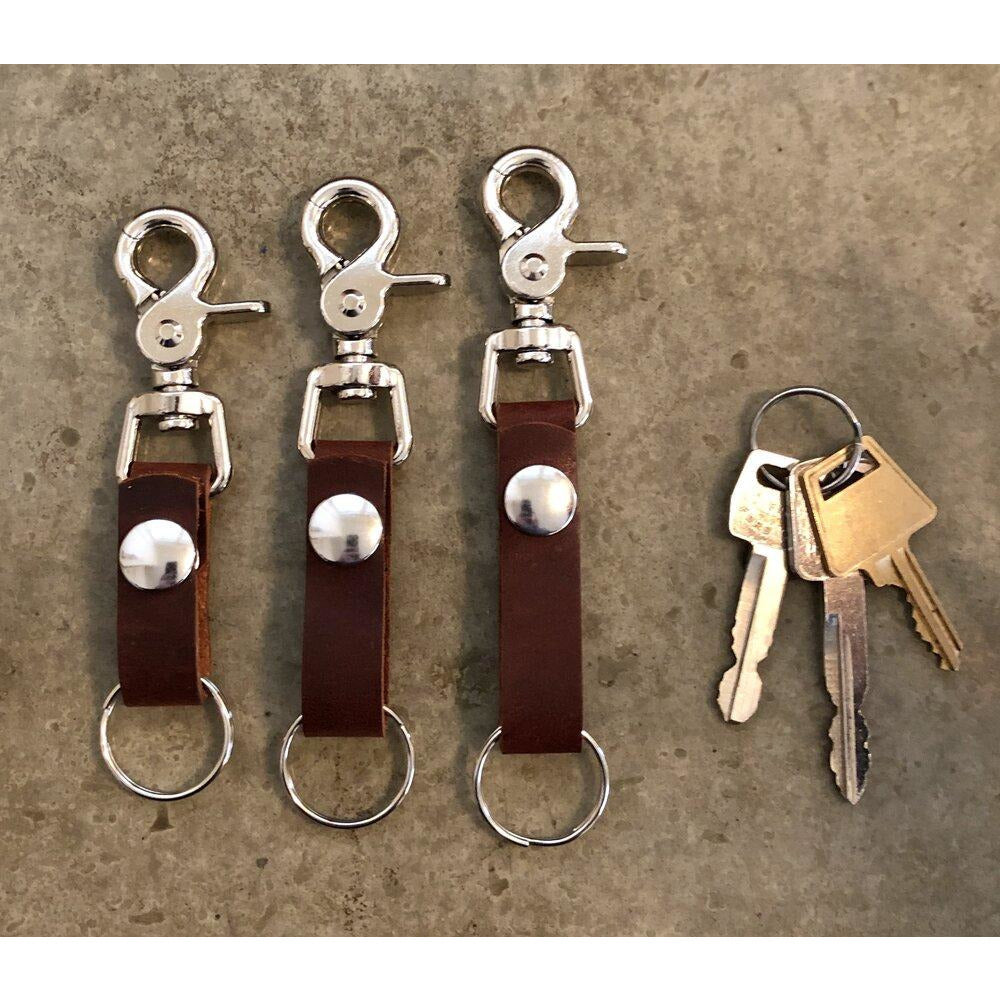 Leather Key Chain in Dark Brown- short, medium, and long