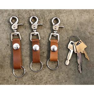 Leather Key Chain in Lighter Brown- long, medium, and short