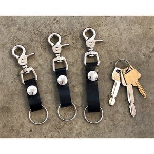 Leather Key Chain in Black, short, medium, and long