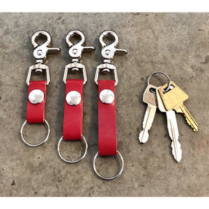 Red Leather Key Chain in short medium and long