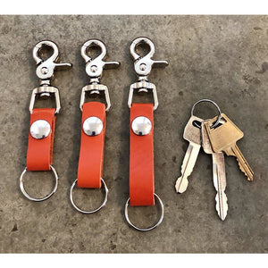 Leather Key Chain in Orange: short, medium, and long