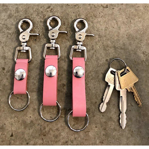 The Perfect Leather Belt Loop Key Chain, in bubblegum pink, short, medium, and long