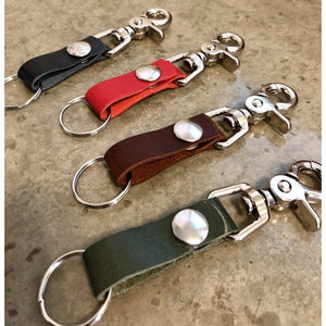 The Perfect Leather Belt Loop Key Chain, in black, red, dark brown, and forest green