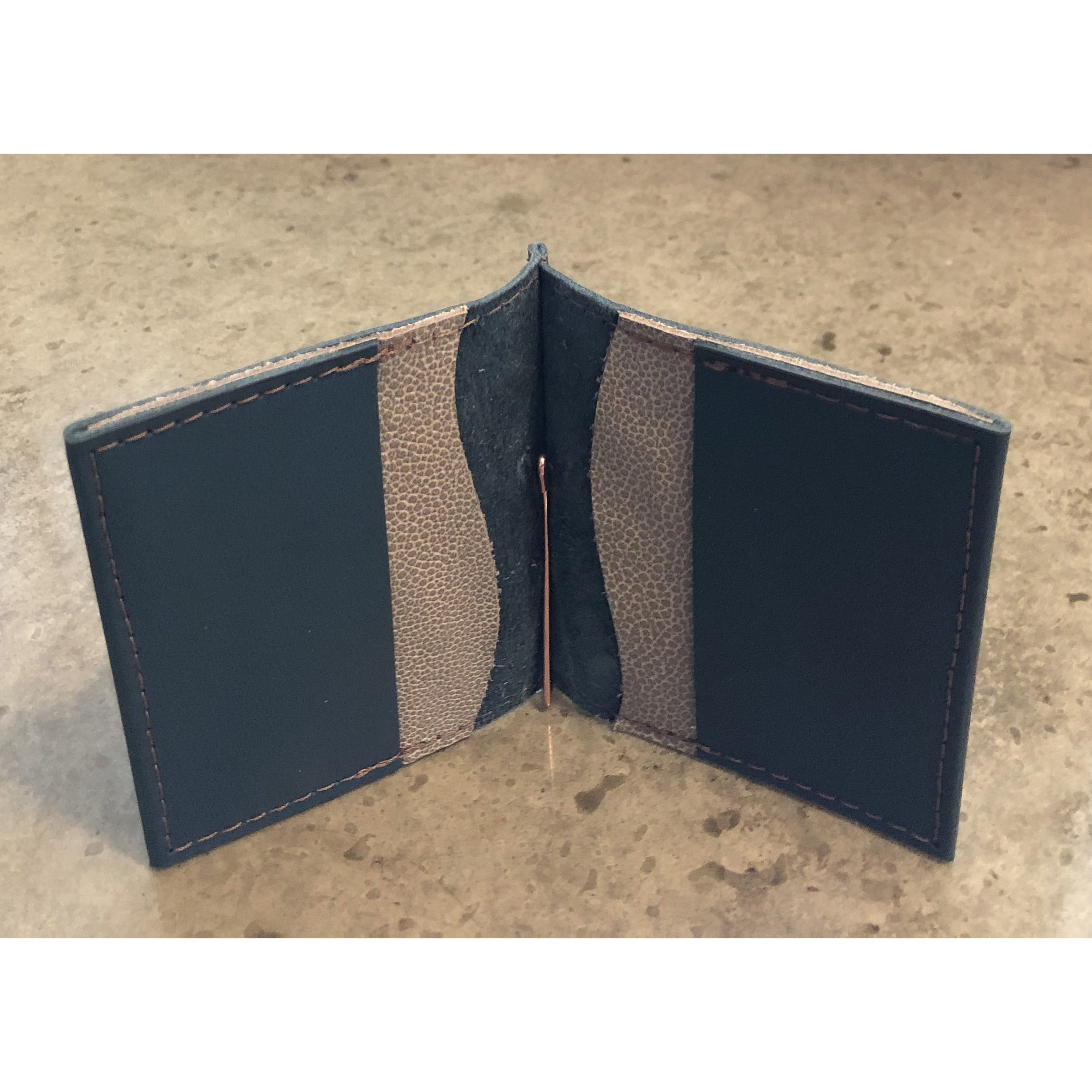 Leather Money Clip Wallet, in teal with spotted off white pockets