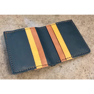 6 Pocket Leather Billfold in teal green, yellow and brown
