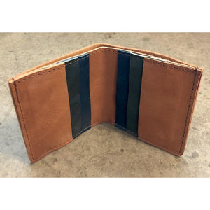 6 Pocket Leather Billfold in Brown and Green