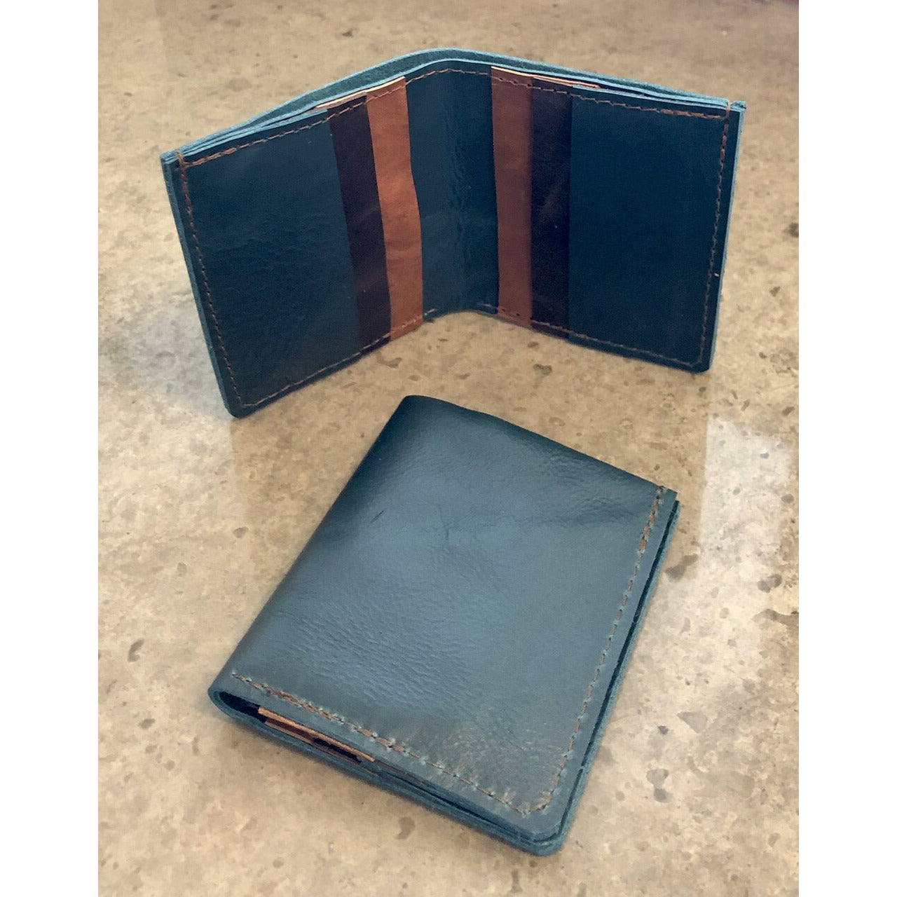 6 Pocket Leather Billfold in shiny teal green and brown