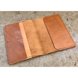 Leather Passport Wallet, in brown with light brown pocket accent