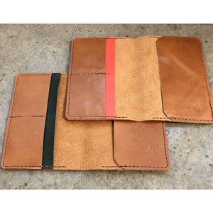 Leather Passport Wallet in brown, with forest green or bright orange pocket accent