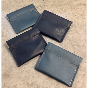 Leather Coin Pouches in black and green