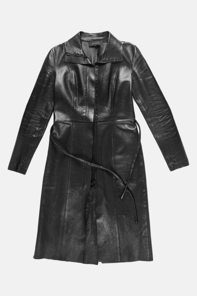 Rare Iconic F/W 1999 Gucci & Tom Ford Black Belted Leather Coat Dress