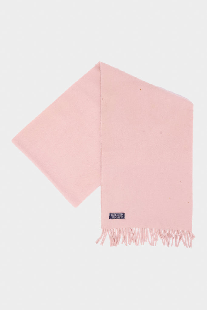 Vintage 90's Burberry Logo Pink Virgin Wool Scarf