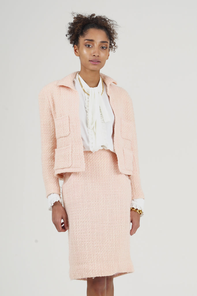 Rare Vintage S/S 1992 Chanel Pink Tweed Suit  Skirt Co-Ord Set