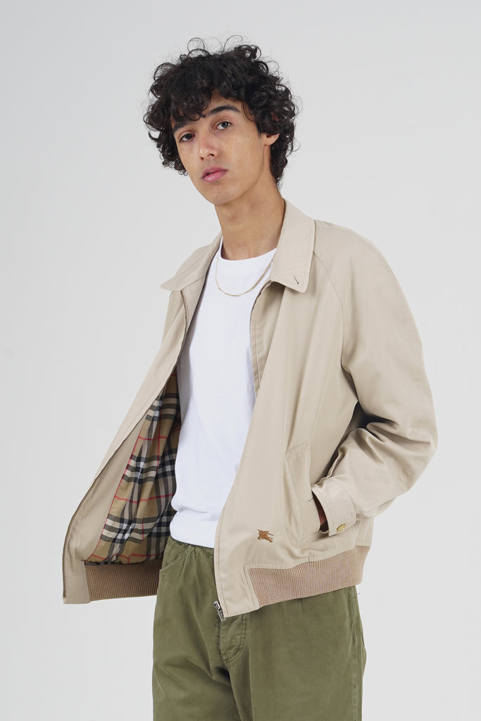 Vintage 90's Burberry Beige Bomber Light Jacket