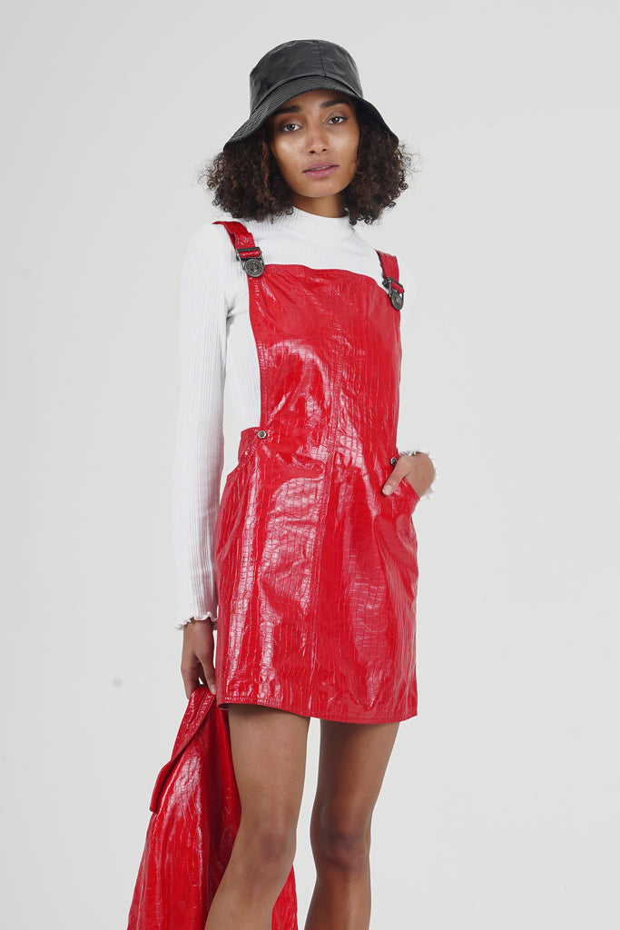 Rare Vintage F/W 1994 Gianni Versace Red Vinyl Leather Co-Ord Set