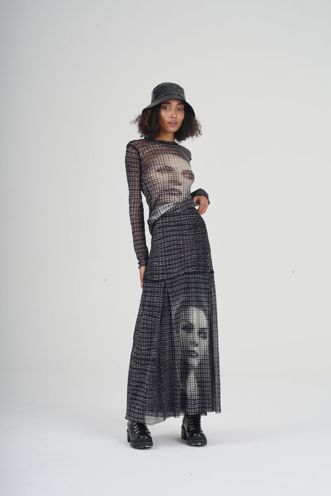 Rare Mid 90's  Jean Paul Gaultier Greta Garbo Face Printed Mesh Co-Ord Set