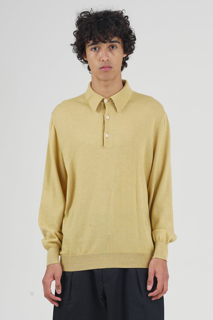 Vintage 90's Yves Saint Laurent Logo Yellow Knit Polo Jumper