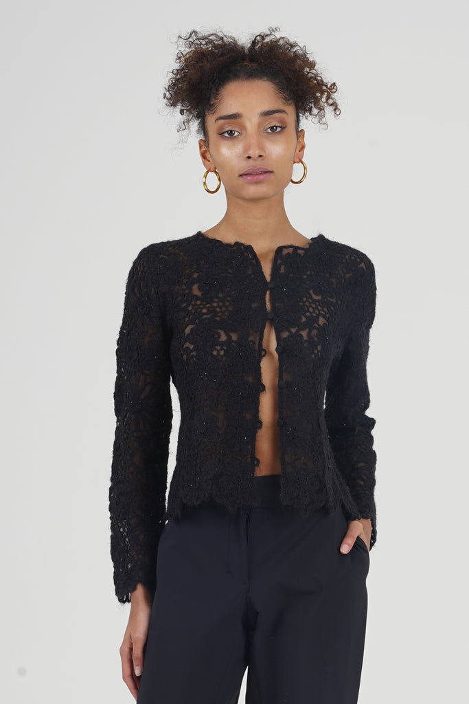 Vintage 90's Moschino Black Embroidered Flowers Mohair Cardigan