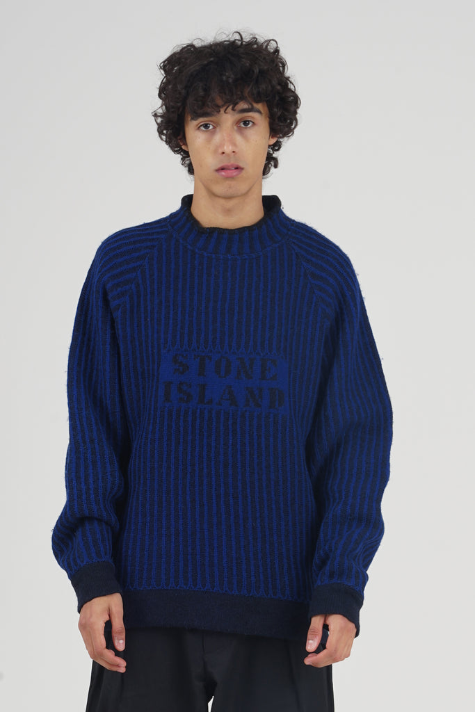 Vintage 80's Stone Island Logo Striped Wool Jumper