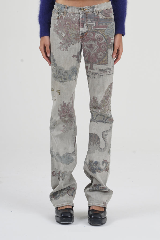 2000 Just Cavalli Indian Print Art High Waisted Jeans