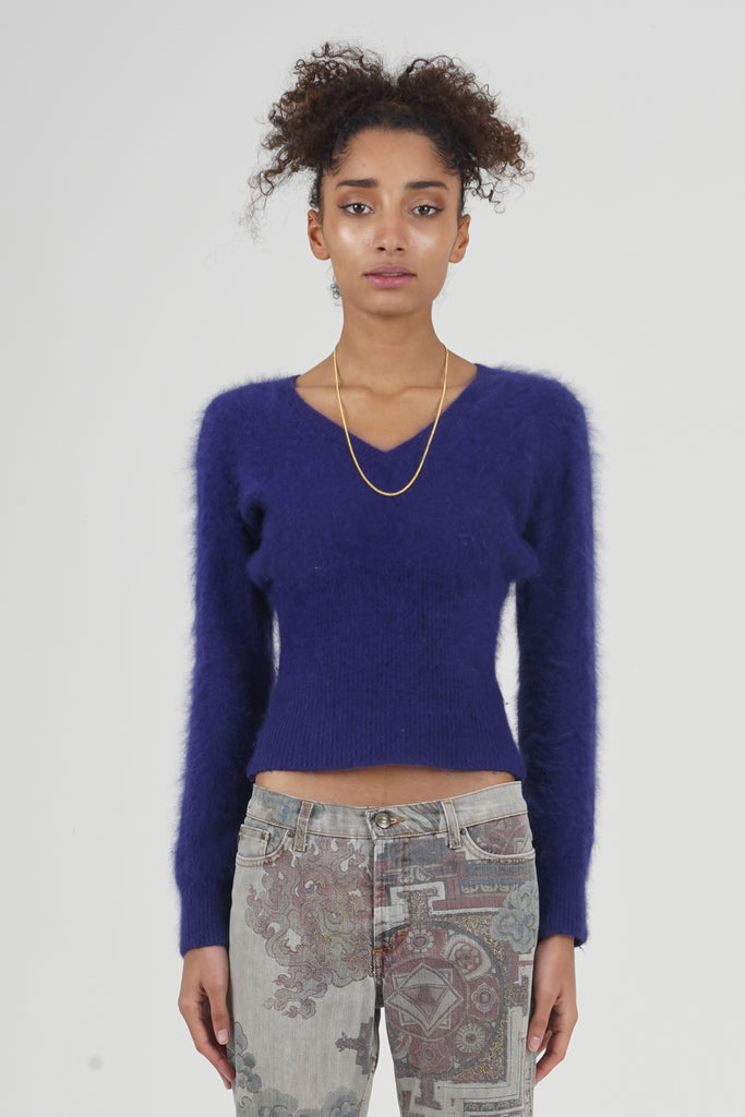 Vintage 2000 RED Valentino Purple Angora Knit Jumper