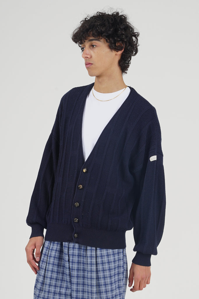 Vintage Late 90's Adidas Navy Wool Knit Cardigan