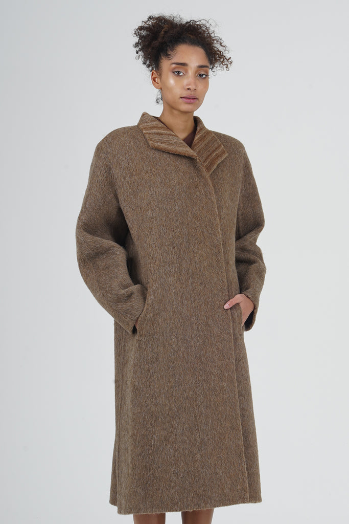 Vintage 90's MaxMara Brown Alpaca Wool Overcoat