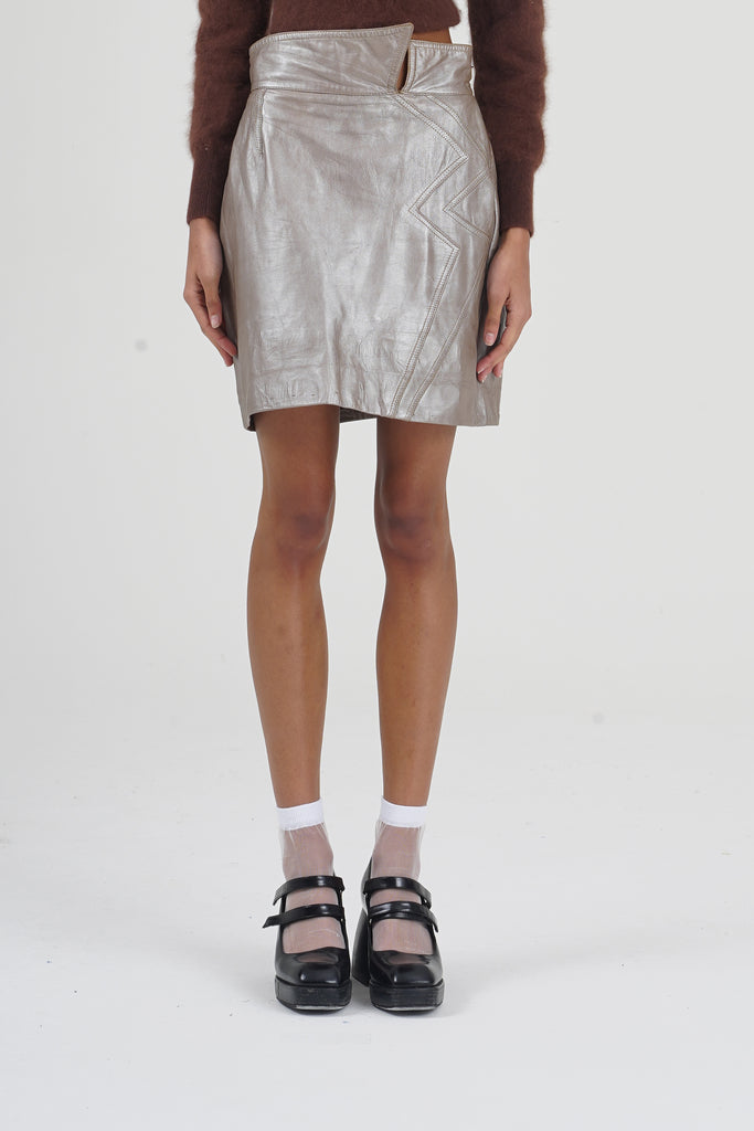 Vintage 80's Silver Peach Soft Leather Skirt