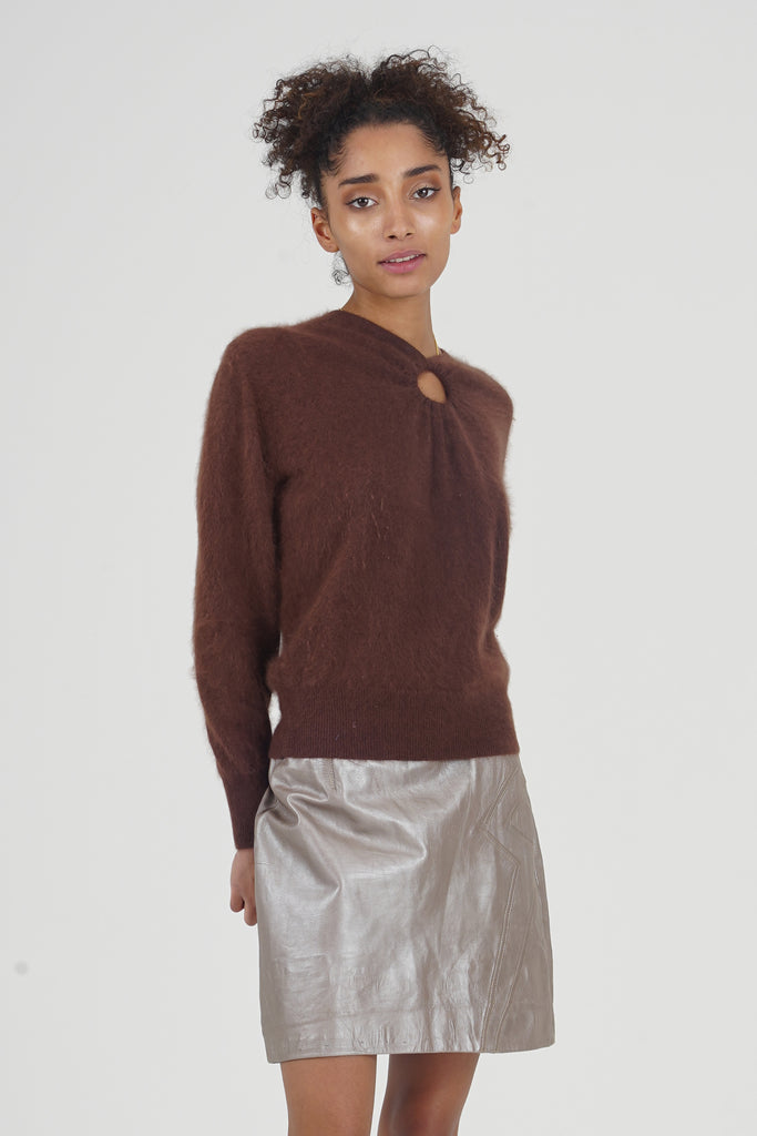 Vintage 90's Luisa Spagnoli Soft Brown Angora Cut out Jumper