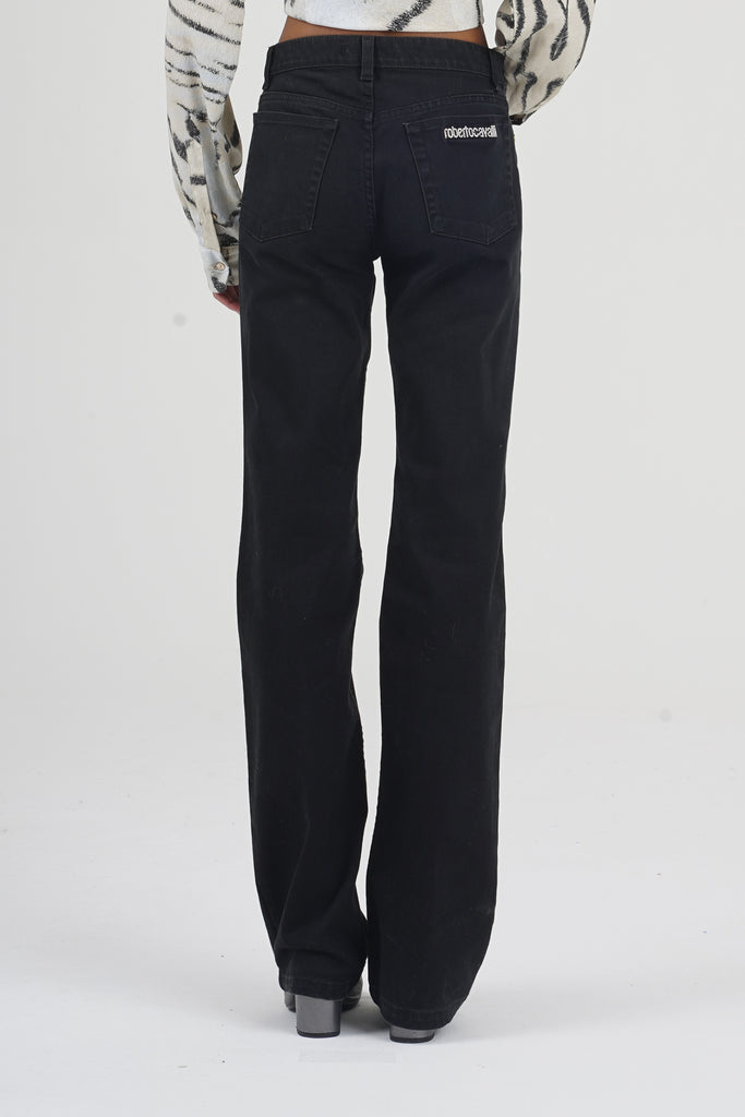Vintage 90's Roberto Cavalli Black Pocket Strass High Waisted Flare Jeans
