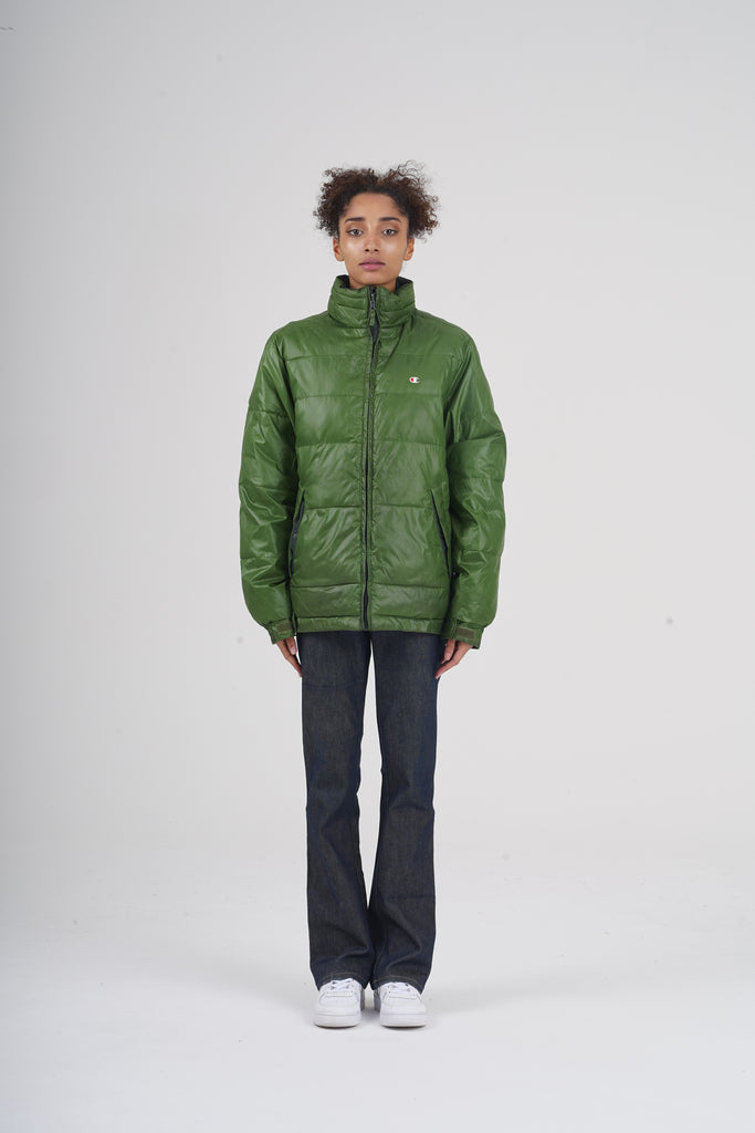 Vintage 90's Champion Seaweed Green Reversible Down Puffer Jacket