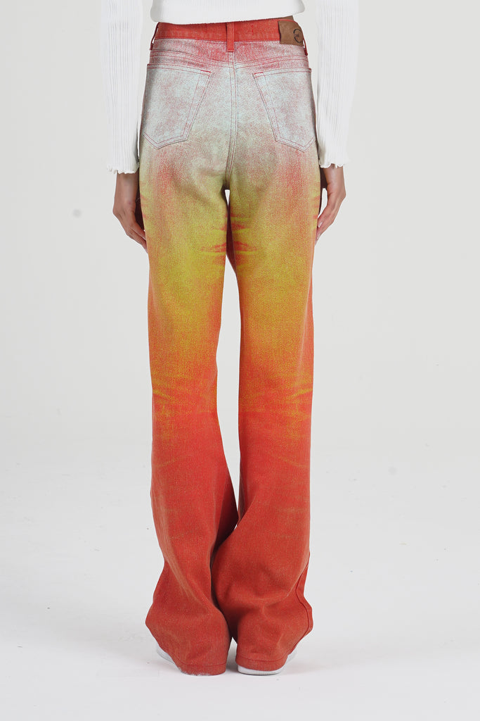 2000 Just Cavalli Orange Sunset High Waisted Flare Jeans