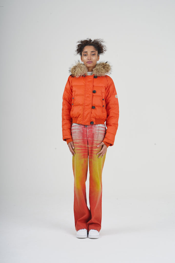 Vintage 90's Moncler Orange Cropped Down Puffer Jacket