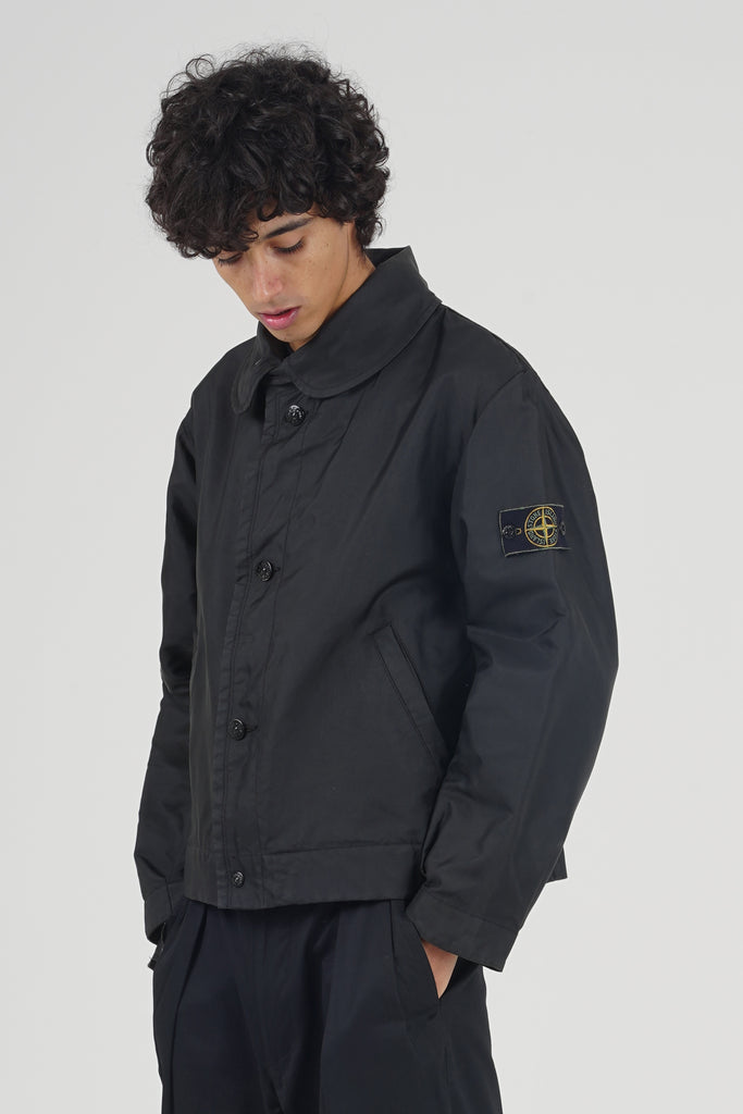 Vintage 80's Stone Island Black Waterproof Black Logo Jacket