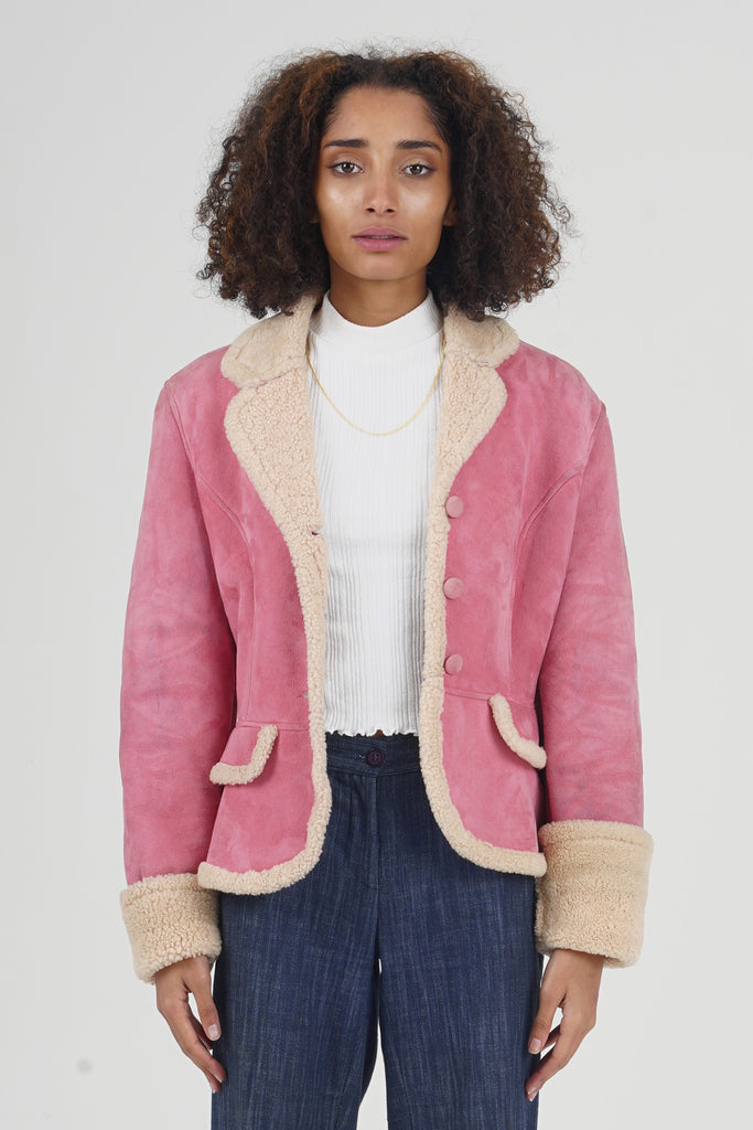 Vintage 90's Kenzo Jungle Pink Shearling Mini Jacket