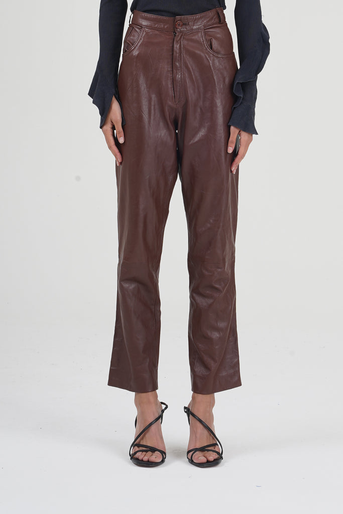 Vintage 90's Brown High Waisted Leather Trousers