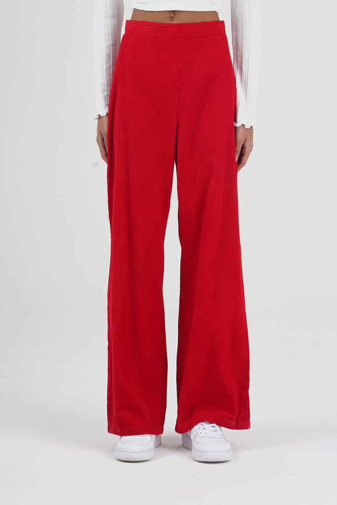Vintage 70's Red Corduroy High Waisted Trousers