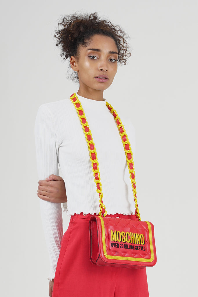 Rare 2014 F/W  McDonald's Moschino Fast Food Crossbody Leather Bag