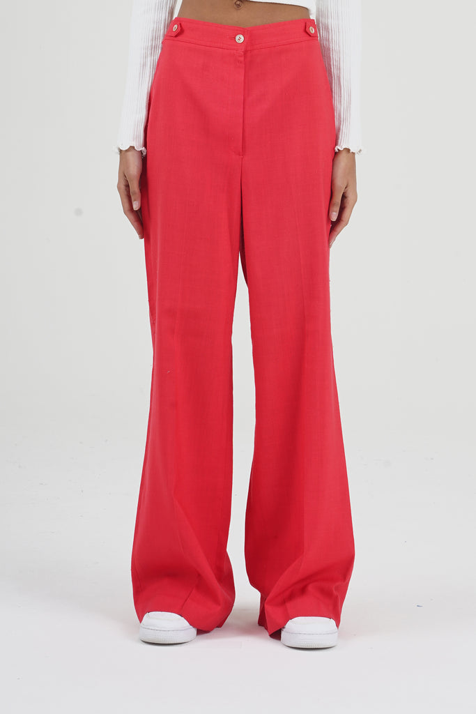 Vintage 70's Red High Waisted Flare Trousers
