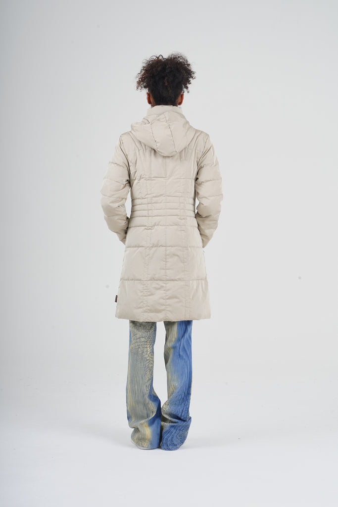 2000 Moncler Beige Longline Hooded Down Puffer Jacket