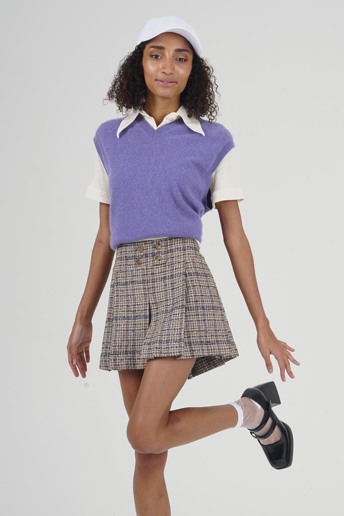 Vintage 90's Benetton Purple Checkered Wool Mini Skirt
