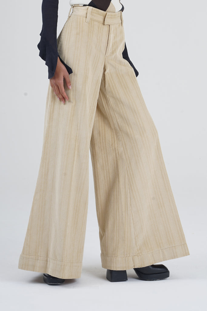 Vintage 90's Moschino Beige Corduroy Wide Leg Trousers