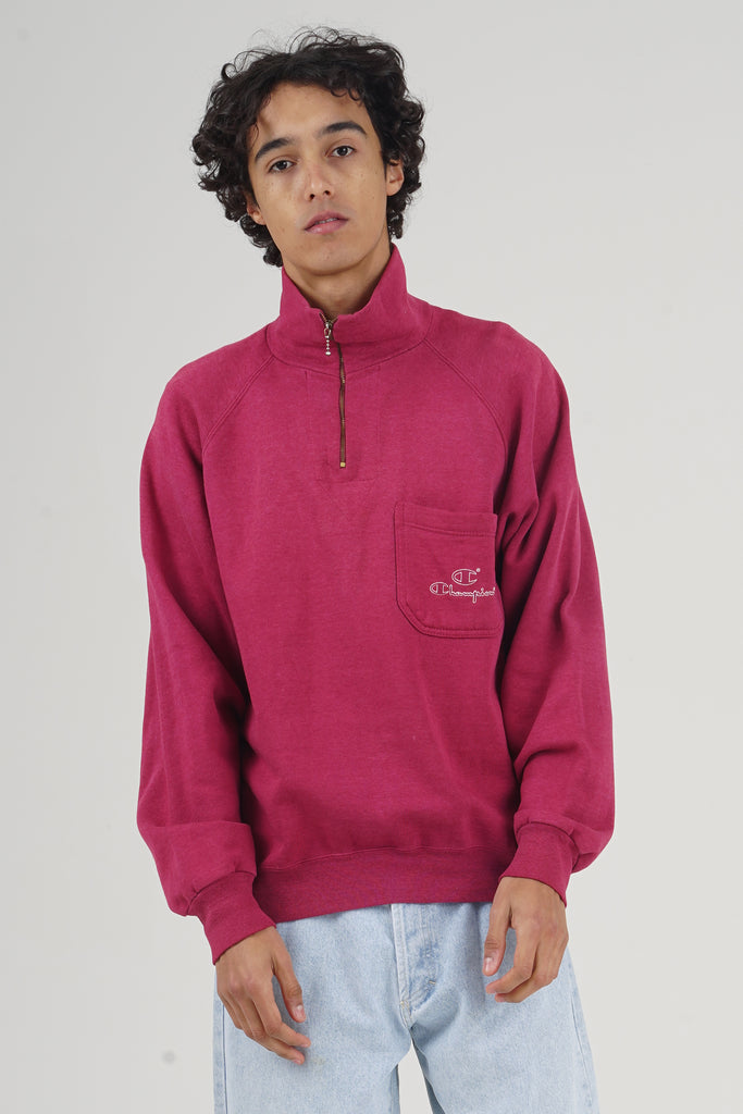 Vintage 80's Champion Raspberry Side Pocket Zip Sweater