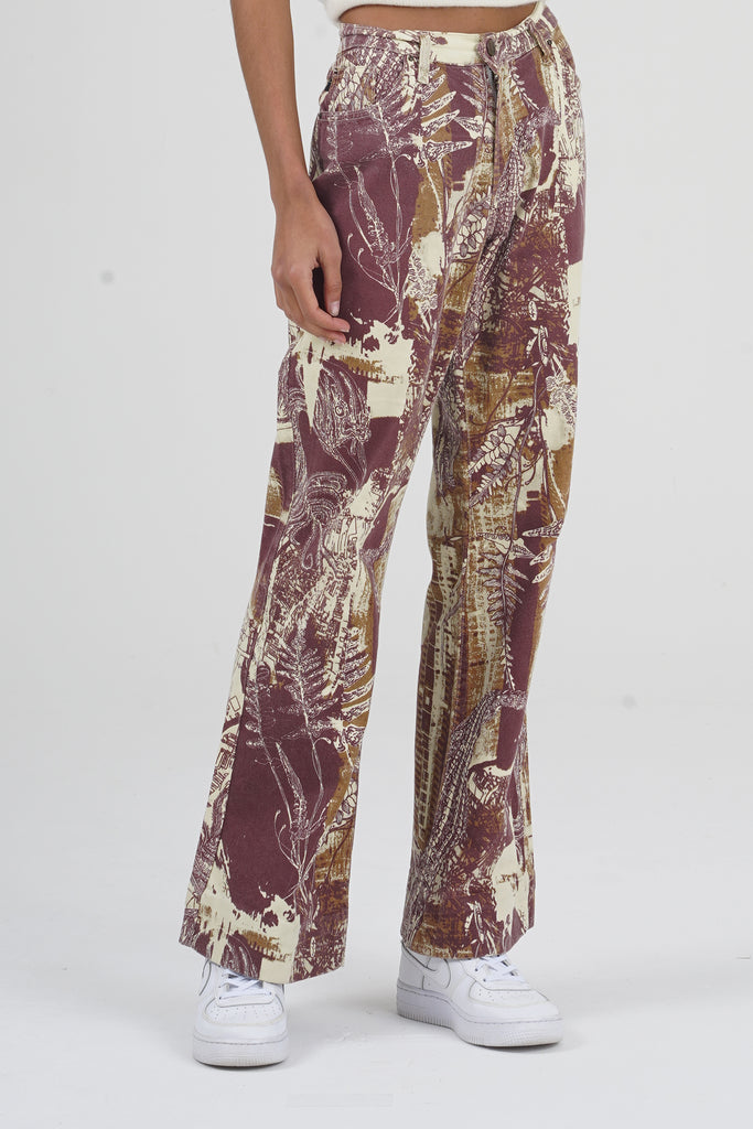 2000 Just Cavalli Fall Leaves Print Wide Legs Jean