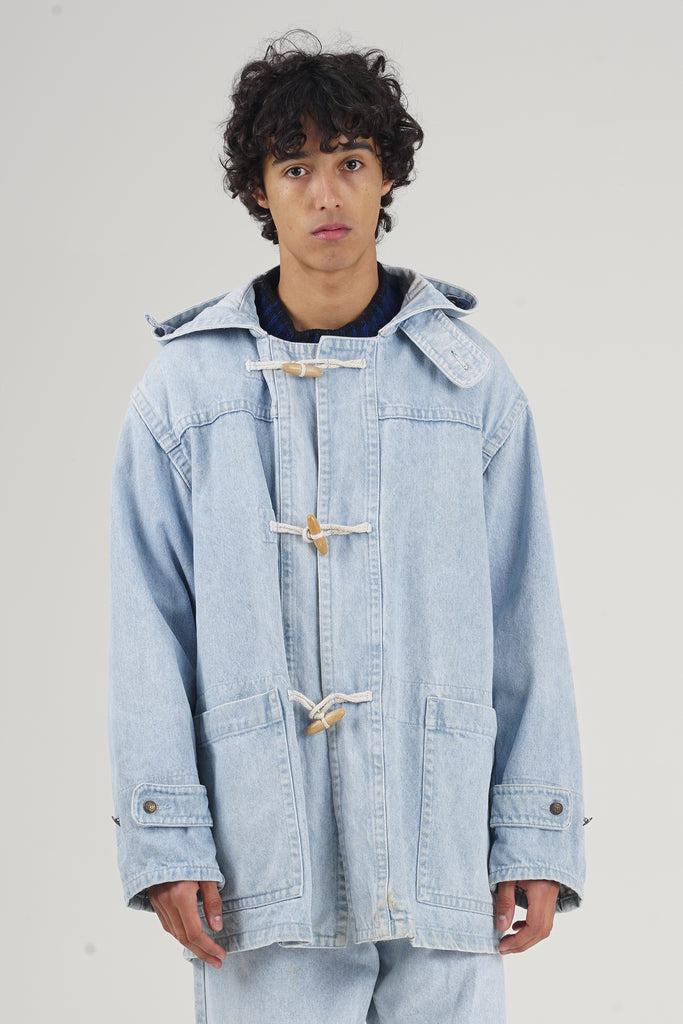 Vintage 90's Valentino Light Wash Denim Parka
