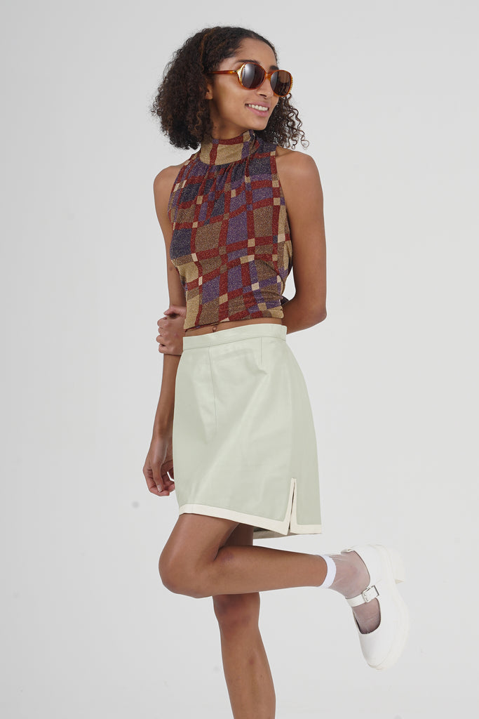 Vintage 90's Pistachio A Line Leather Mini Skirt