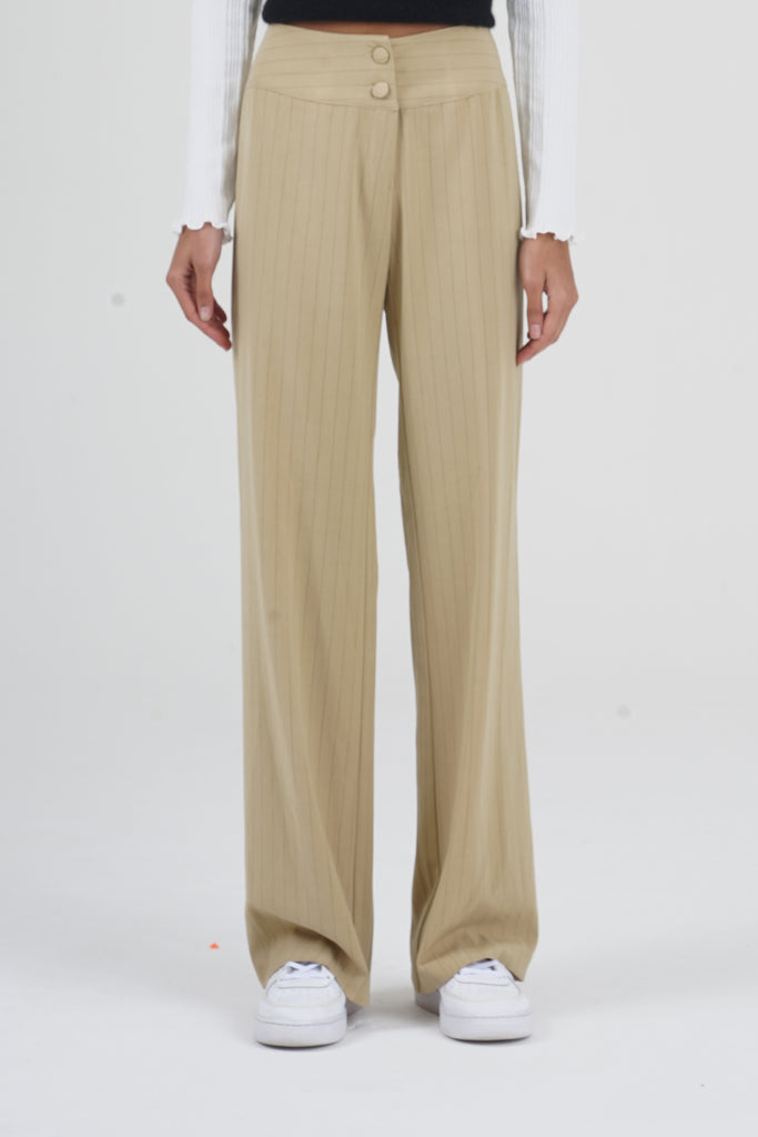 Vintage 70's Beige Pinestripe High Waisted Trousers