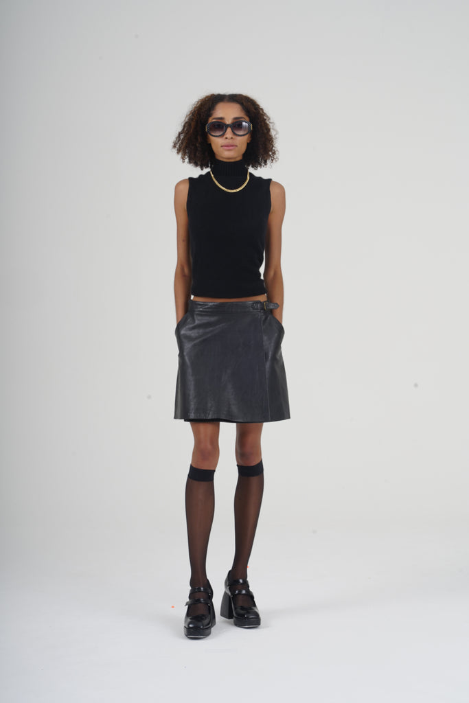 Vintage 90's Black Wrap Leather Mini Skirt